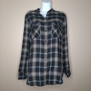 VINCE Plaid button down blouse, lamb leather trim
